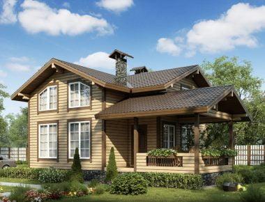 деревянный дом зимой