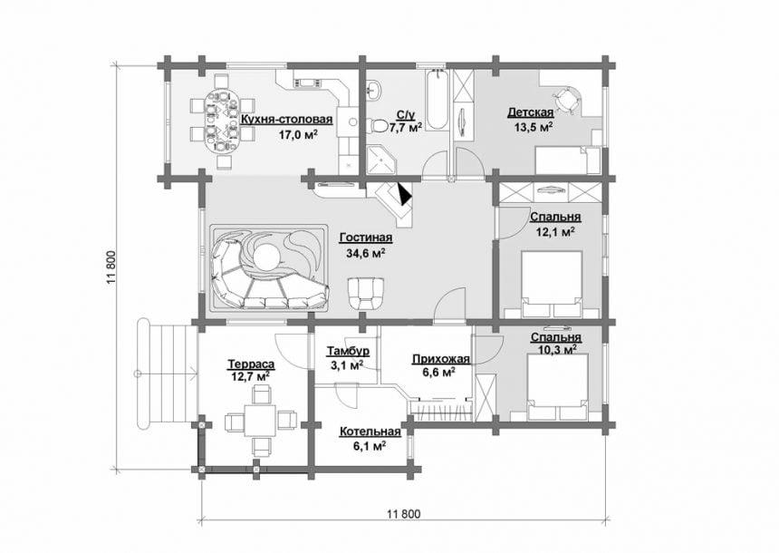 дома из бруса для постоянного одноэтажные